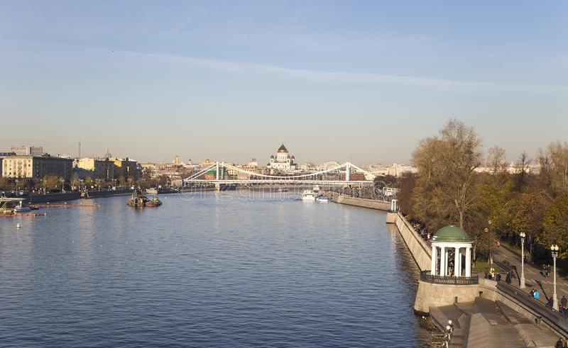 Moskva River and embankments day. Moscow, Russia stock photo