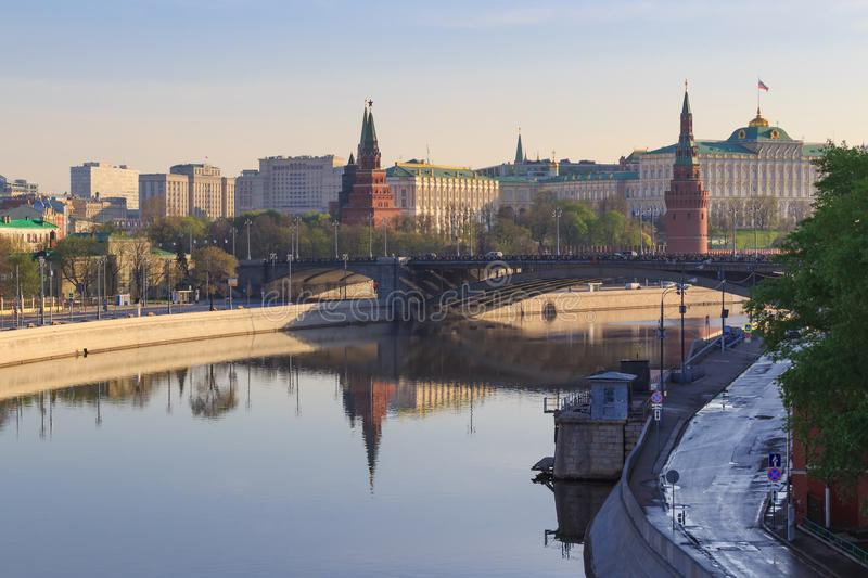 Moskva river embankments on a Moscow Kremlin background in sunny spring morning stock images