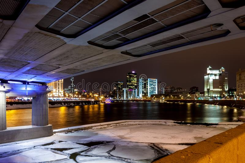 Moscow River in the ice near Novoarbatsky bridge. stock image