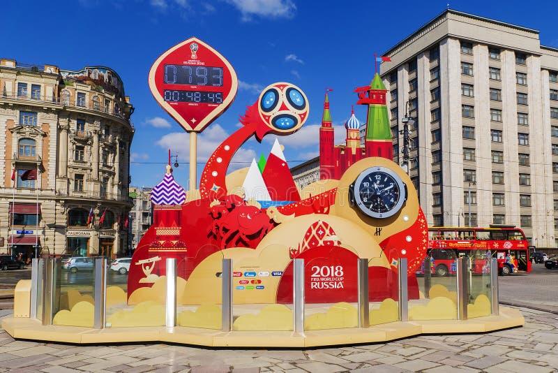 MOSKVA RUSSIA-12 av APRIL: symbolical timmar av den FIFA världen C arkivfoto