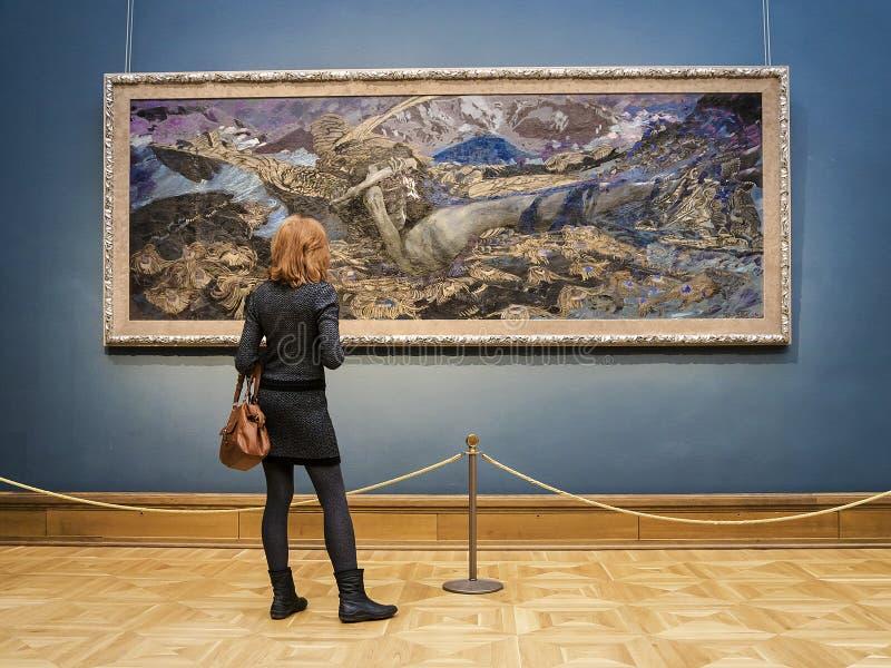 MOSKVA RUSSIA-MARCH 1: Den statliga Tretyakoven Art Gallery i Mosco royaltyfria foton