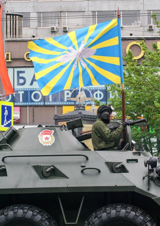05 09 2012, Moskva, Ryssland Beröm av dagen för seger` s Ståta av special utrustning arkivbilder