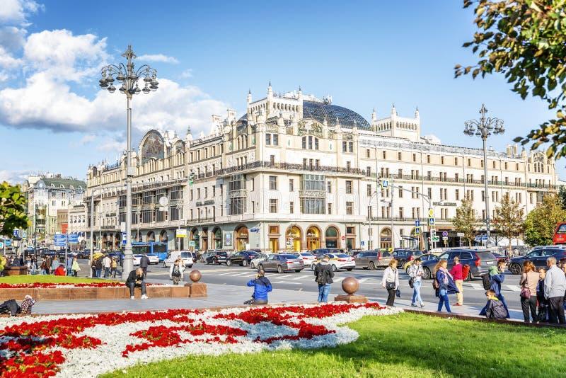 Moskva Ryssland, 08/06/2019: Härlig sikt av det Metropol hotellet i mitten av en storstad arkivfoto