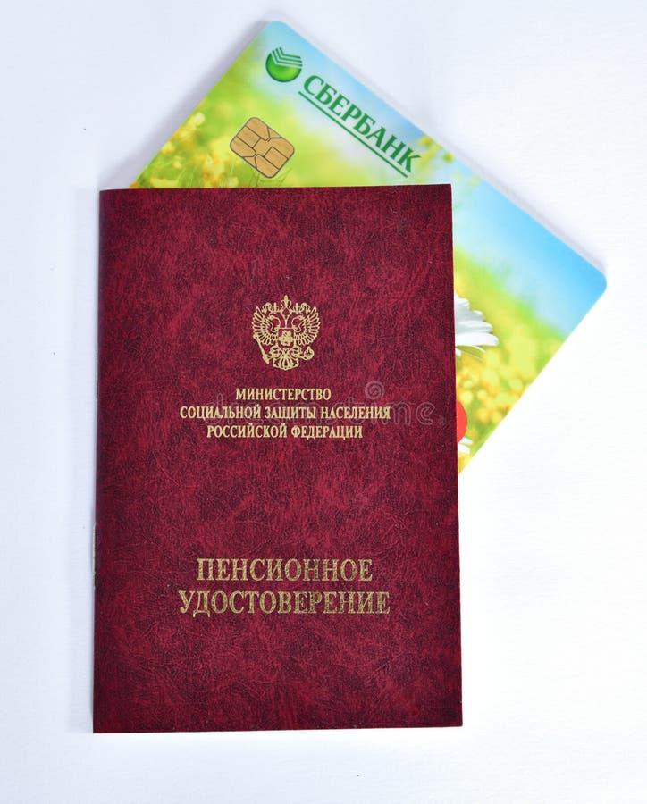 Moskva Ryssland - Juli 23 2018 Pensionera certifikatet av departementet av socialt skydd av befolkning royaltyfri foto