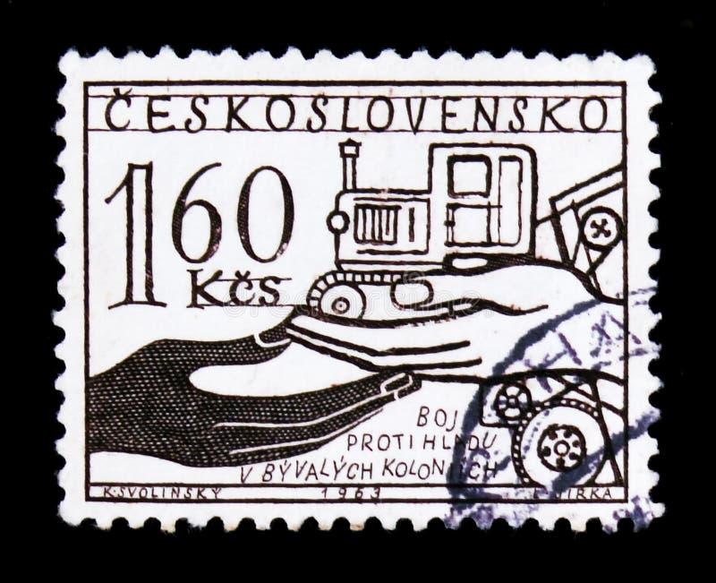 MOSKVA RYSSLAND - JUNI 20, 2017: En stämpel som skrivs ut i Czechoslovaki royaltyfri foto