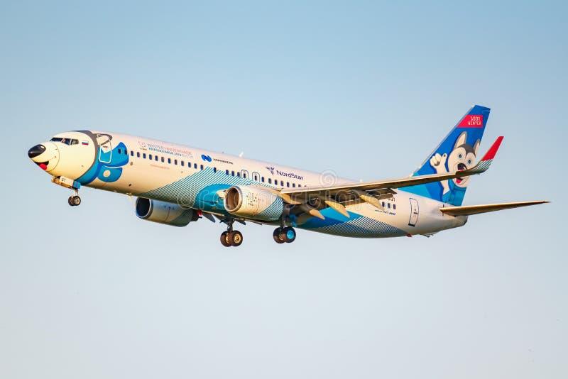Moskva Ryssland - Juni 20, 2019: FlygplanBoeing 737-8ASWL VQ-BQT Laika special livré av NordStar flygbolag som landar på Domodedo royaltyfri foto