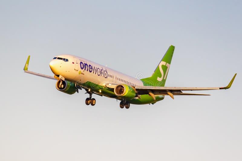 Moskva Ryssland - Juni 20, 2019: FlygplanBoeing 737-8ZSWL VQ-BKV Oneworld livré av flygbolag för S7 som Sibirien landar på Domode arkivbild