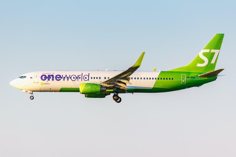 Moskva Ryssland - Juni 20, 2019: FlygplanBoeing 737-8ZSWL VQ-BKV Oneworld livré av flygbolag för S7 som Sibirien landar på Domode royaltyfri fotografi