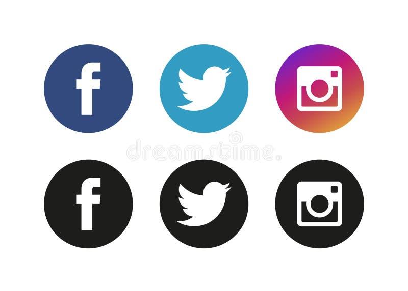 Moskva Ryssland - Juni 20, 2017: Uppsättning av populära sociala massmedialogoer vektor illustrationer