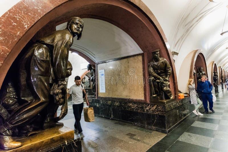 Moskva Ryssland kan 26, 2019 fyrkant för revolution för tunnelbanastation lokaliseras i hjärtan av staden nära röd fyrkant, det m arkivbilder