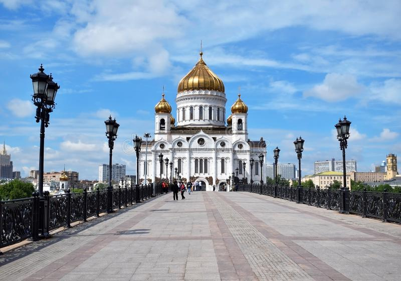 Moskva Ryssland - Maj 13, 2019: Domkyrkan av Kristus frälsaren royaltyfri bild