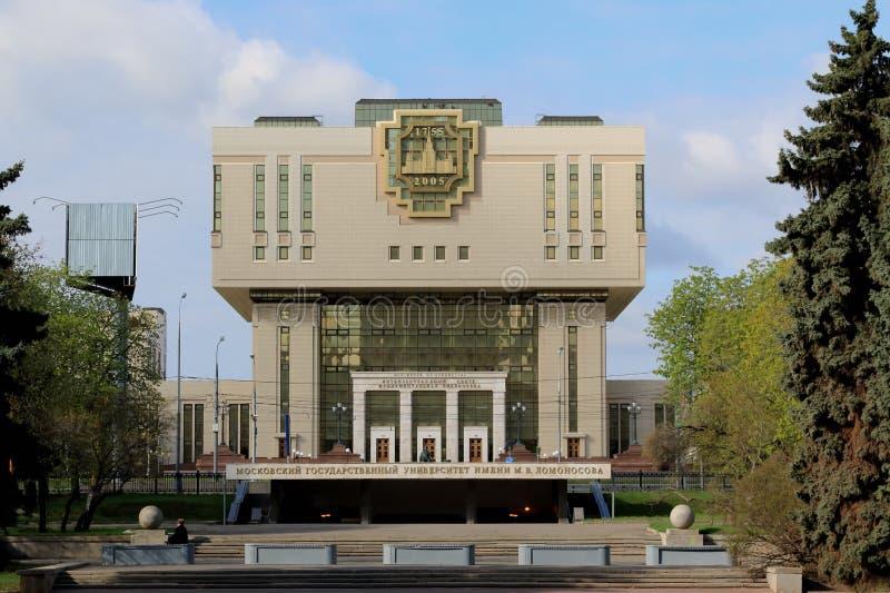 Moskva Ryssland - Maj 03, 2019: Intellektuellt Mitt-grund arkiv av Moskvadelstatsuniversitetet arkivbild