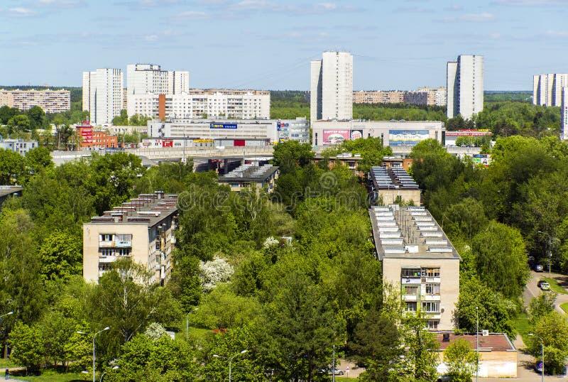 Moskva Ryssland - Maj 13 2016 Zelenograd panorama från en höjd fotografering för bildbyråer