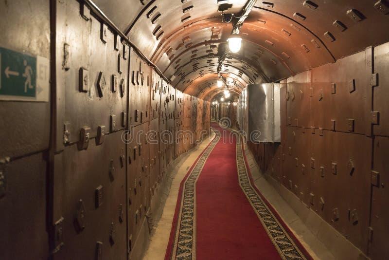 Moskva Ryssland - NOVEMBER 29, 2014, den kärn- bunker, en tidigare sovjetisk hemlig militär lätthet - den omväxlande kommandostol royaltyfri foto