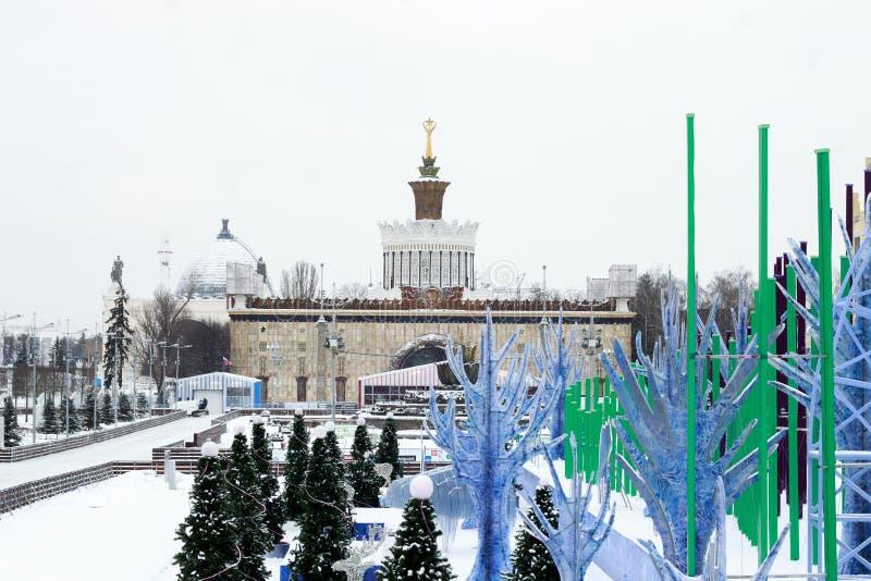 MOSKVA RYSSLAND - November 29, 2016: Parkera VDNKh, den åka skridskor isbanan arkivbilder