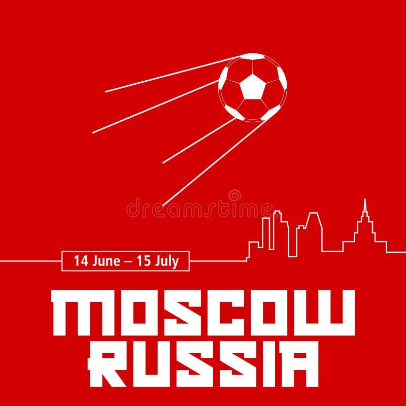 Moskva Ryssland röd affisch Fotbollboll i form av en sputniksatellit royaltyfri illustrationer