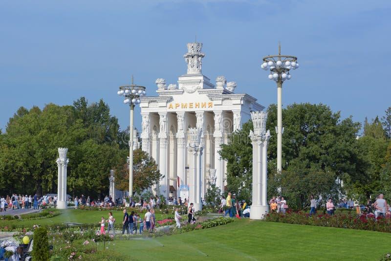 Moskva Ryssland - September 8, 2018: Armenien paviljong på VDNH på en festlig sommardag royaltyfria foton