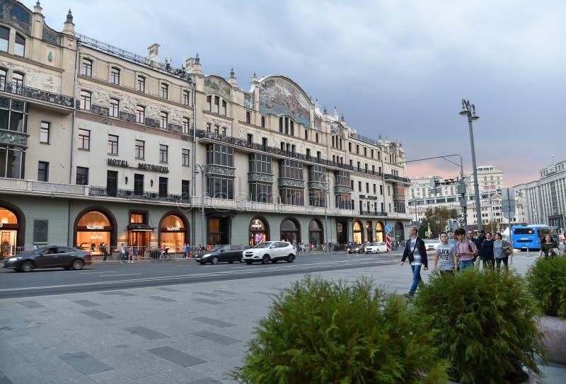 Moskva Ryssland - September 22 2018 Scenisk passage och hotell Metropol arkivfoto