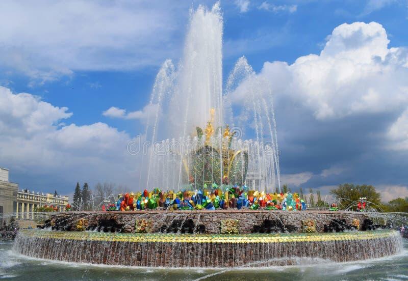 Moskva Ryssland, VDNH - springbrunnstenblomma royaltyfria foton