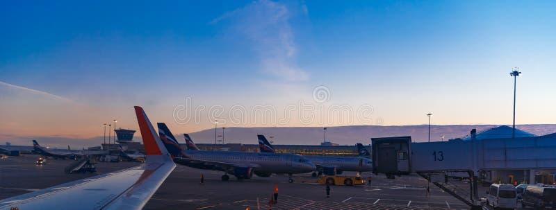 Moskva Sheremetyevo flygplats, Ryssland - Oktober 16, 2015: Flygbuss A320 Aeroflot VQ-BCM som åker taxi till terminalen, når att  royaltyfria foton
