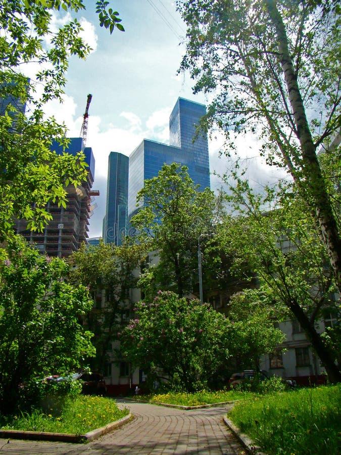 Moskva-stad modern arkitektur arkivfoto