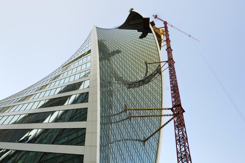 Moskva-stad nedersta sikt på tornet under konstruktionsevolution royaltyfria foton