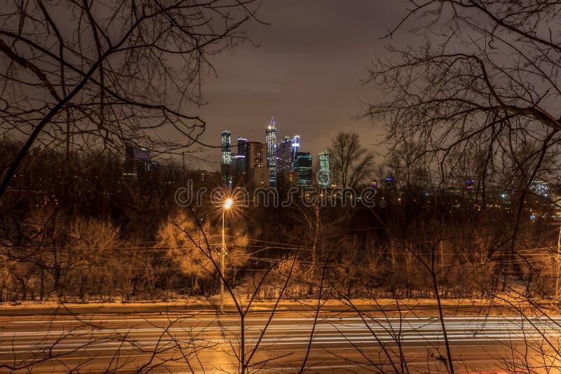 Moskva tidigt på morgonen och afton arkivfoto
