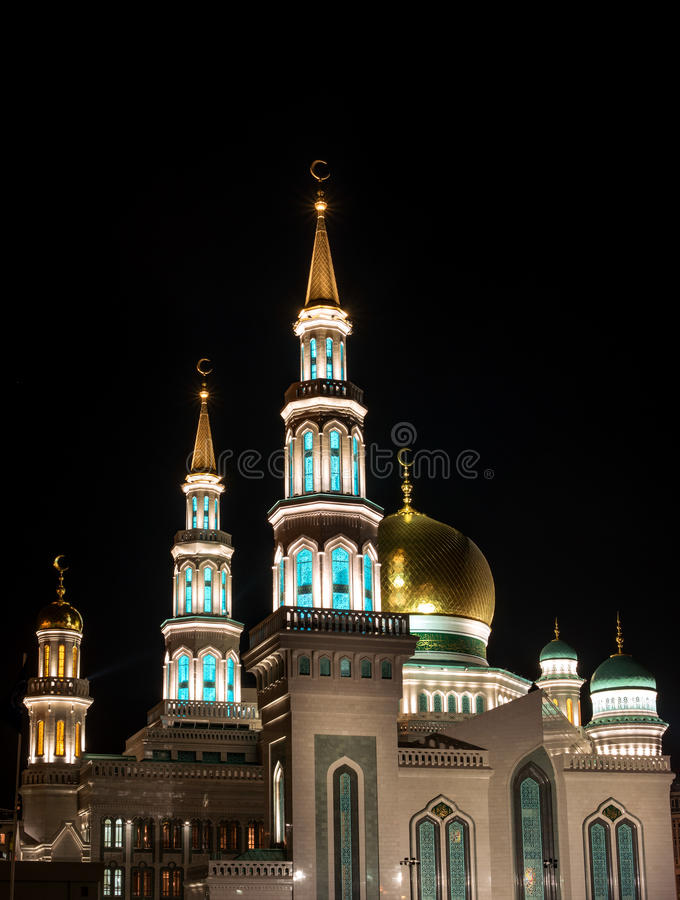 Moskvadomkyrkamoské färglinje nattfotografi royaltyfria foton