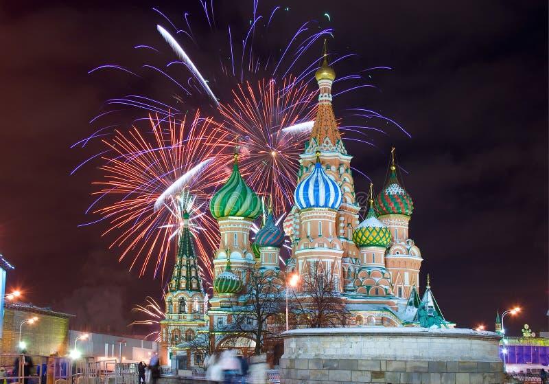 Moskvagränsmärkefyrverkeri arkivbild