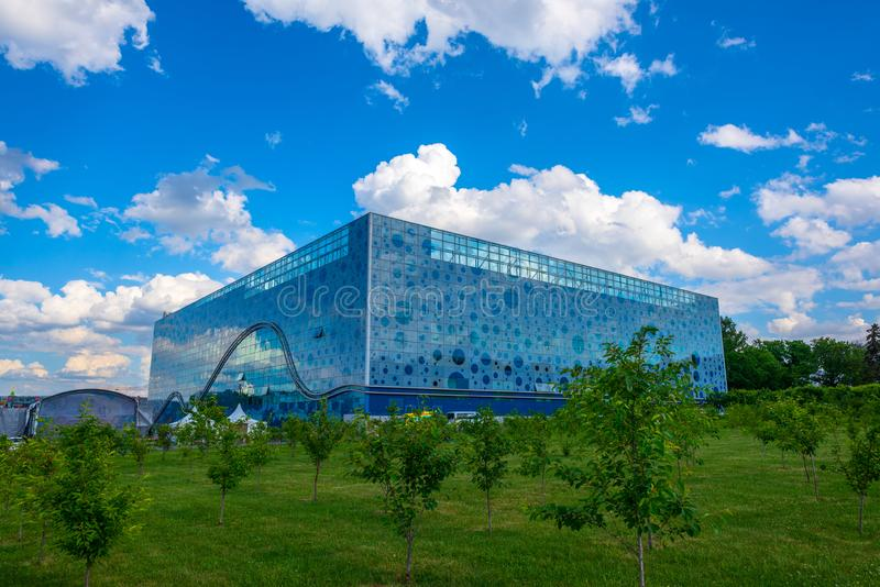 Moskvarium Oceanography and marine biology Centre. Moscow, Russia - June 2, 2019: Moskvarium Oceanography and marine biology Centre at VDNH stock image