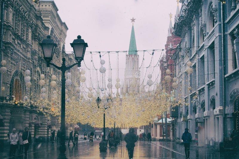 Moskvatrafik på Winter arkivfoton