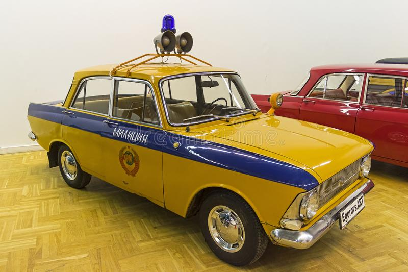 Moskvich-412IE car. Moscow, Russia - November 10, 2018:  Moskvich-412IE car  made in 1974 colored as police car. The exhibition of old and rare cars stock photography