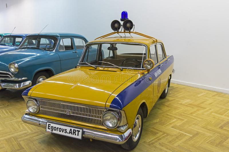 Moskvich-412IE car. Moscow, Russia - November 10, 2018:  Moskvich-412IE car  made in 1974 colored as police car. The exhibition of old and rare cars royalty free stock photography
