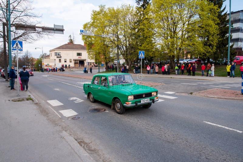 Moskvitsh elita dalej najpierw Maj parada w Sastamala obrazy stock