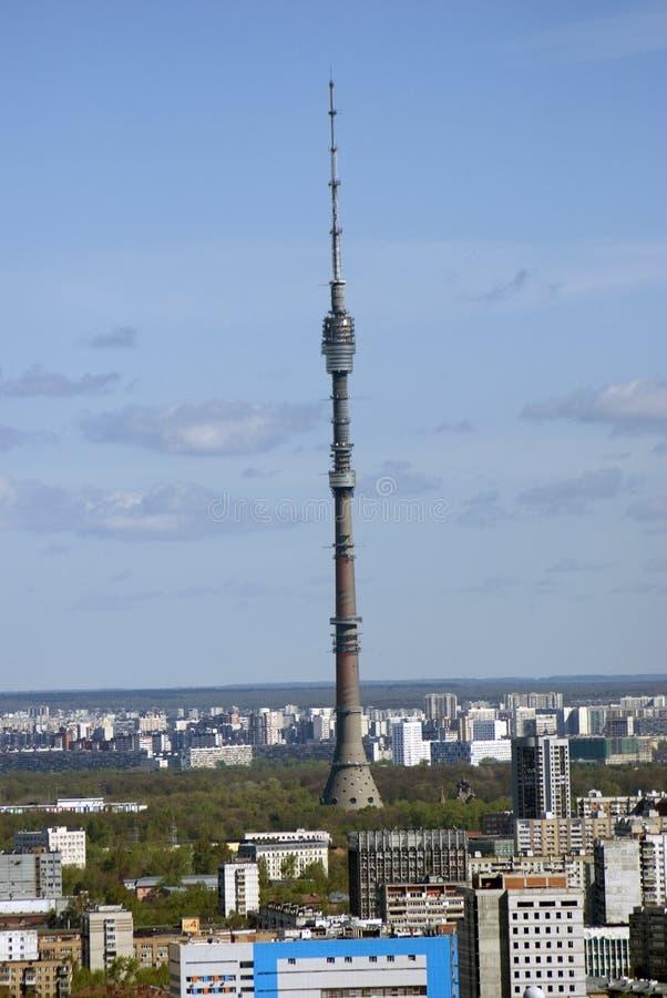 Moskwa centrum miasta ptasi ptaków oka Prague s widok Ostankino telewizi wierza obrazy stock