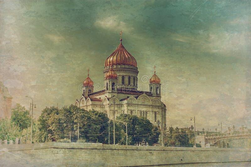 Moskwa katedra w rocznika stylu obrazy royalty free