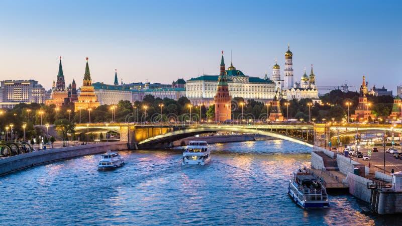 Moskwa Kremlin przy noc?, Rosja zdjęcia royalty free