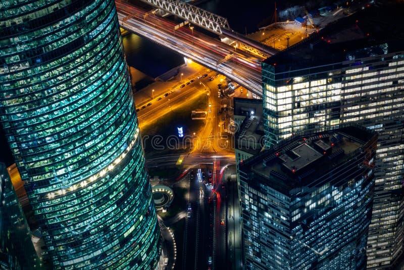 Moskwa miasta dzielnica biznesu nocy widok od obserwacja pokładu zdjęcia royalty free
