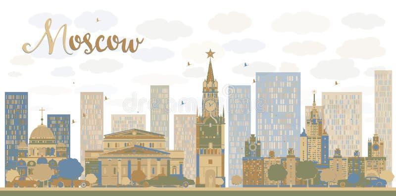 Moskwa miasta linia horyzontu w błękicie i brąz barwimy royalty ilustracja