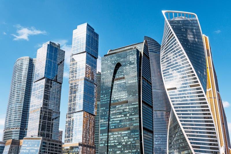 Moskwa miasto - widok drapacza chmur zawody międzynarodowi centrum biznesu Rosja, Moskwa 20 2018 Kwiecień zdjęcie stock
