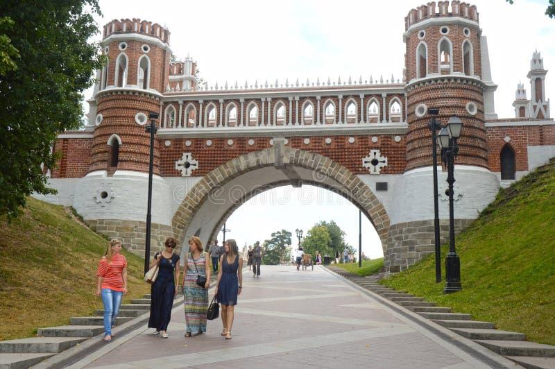 Moskwa mosta Tsaritsyno Obliczający 1776-1778 architekt Bazhenov fotografia royalty free