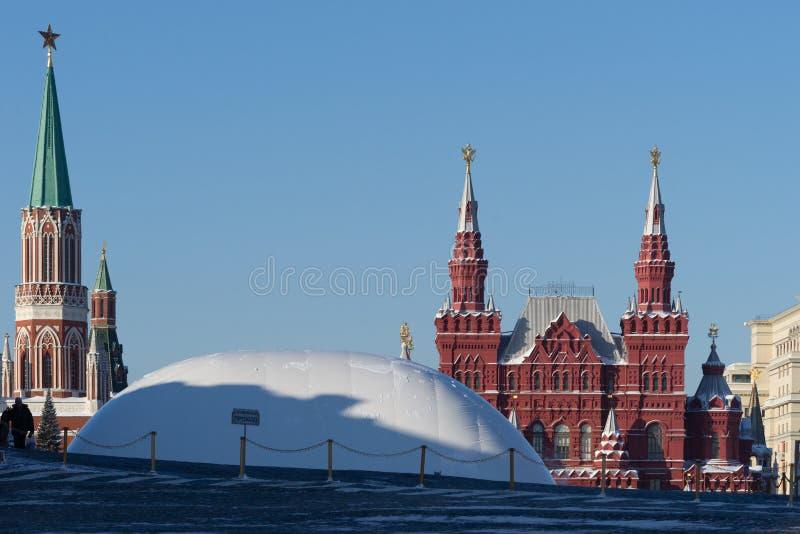 Moskwa plac czerwony, Nikolsky Kremlin wierza obraz stock