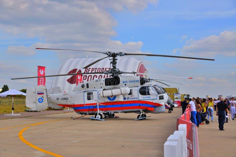 MOSKWA ROSJA, AUG, - 2015: Przeciwawaryjni helikopteru Ka-32 Helix pres zdjęcie stock