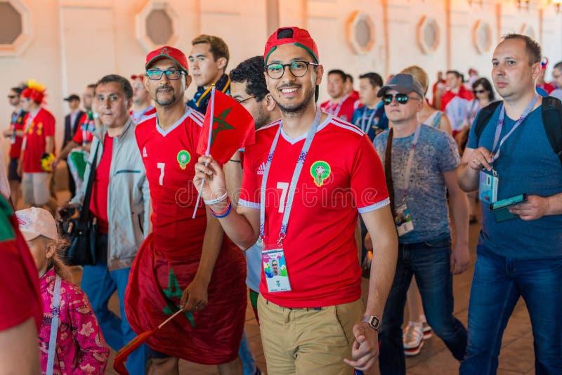 MOSKWA ROSJA, CZERWIEC, - 20: fan Maroko i Portugalia przy Fifa puchar ?wiata Rosja w 2018, przed futbolowym dopasowaniem po?rodk fotografia stock