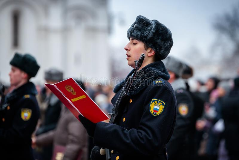 MOSKWA ROSJA, GRUDZIEŃ, - 09, 2017: Militarny ślubowanie Prezydencki pułk zdjęcie royalty free