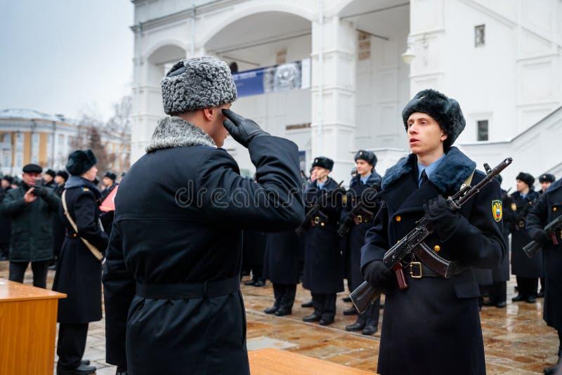 MOSKWA ROSJA, GRUDZIEŃ, - 09, 2017: Militarny ślubowanie Prezydencki pułk zdjęcia royalty free