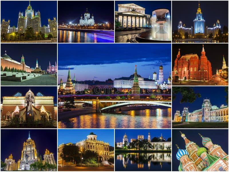 Moskwa, Rosja (kolaż atrakcje turystyczne w mieście przy nocą obrazy stock