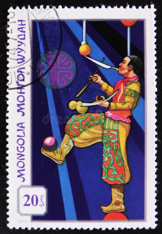 MOSKWA ROSJA, KWIECIEŃ, - 2, 2017: Poczta znaczek drukujący w Mongolia zdjęcie stock