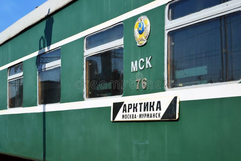 Moskwa Rosja, Kwiecień, - 1 2017 Taborowy Arktyczny, trasa od Murmansk Moskwa w muzeum historia Kolejowego transportu rozwój zdjęcie royalty free
