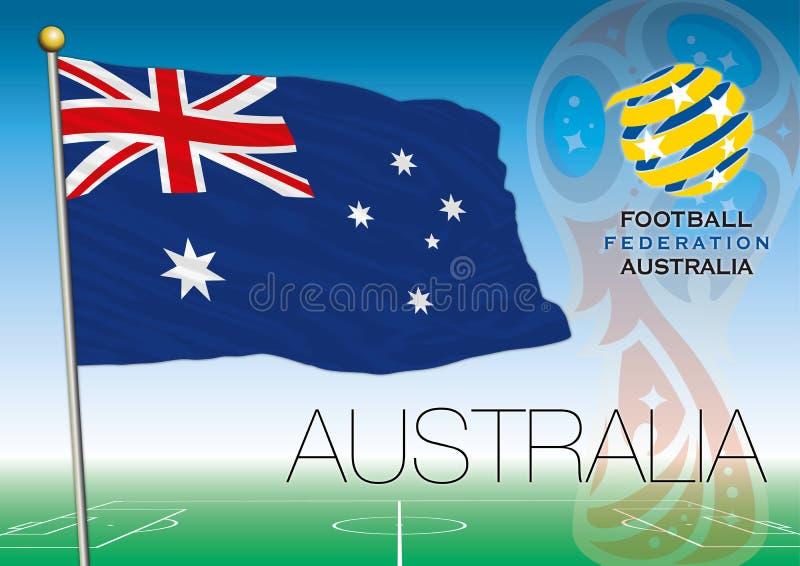 MOSKWA, ROSJA, Lipiec 2018 - Rosja 2018 pucharów świata logo i flaga Australia